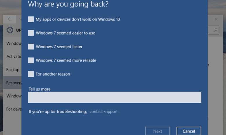 طريقة الرجوع من الويندوز 10 Windows الى الاصدار سابق