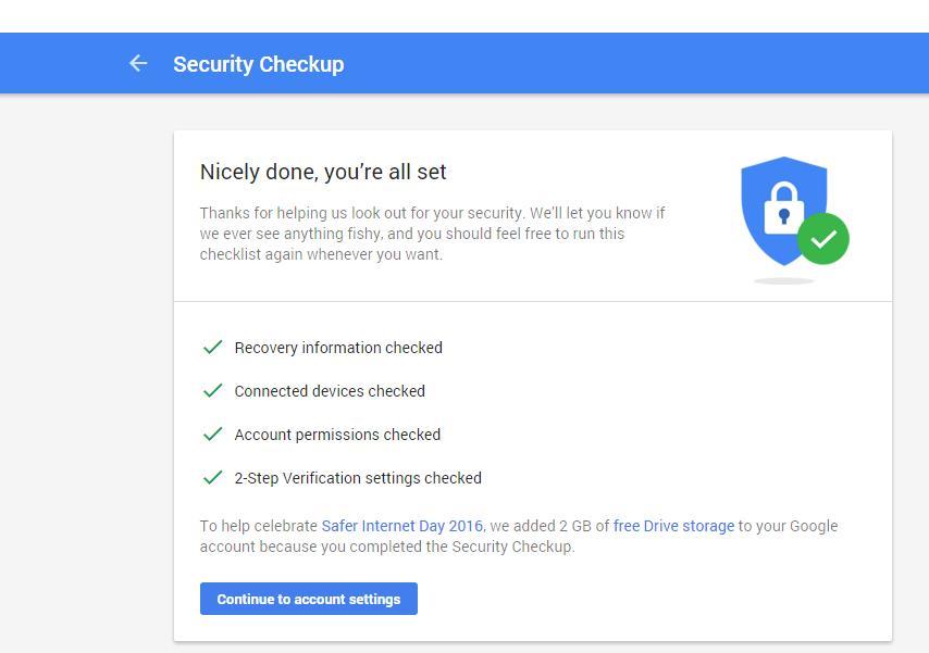 جوجل تهديك 2 جيجا على جوجل درايف Drive بعد تتبع خطوات فحص الأمان