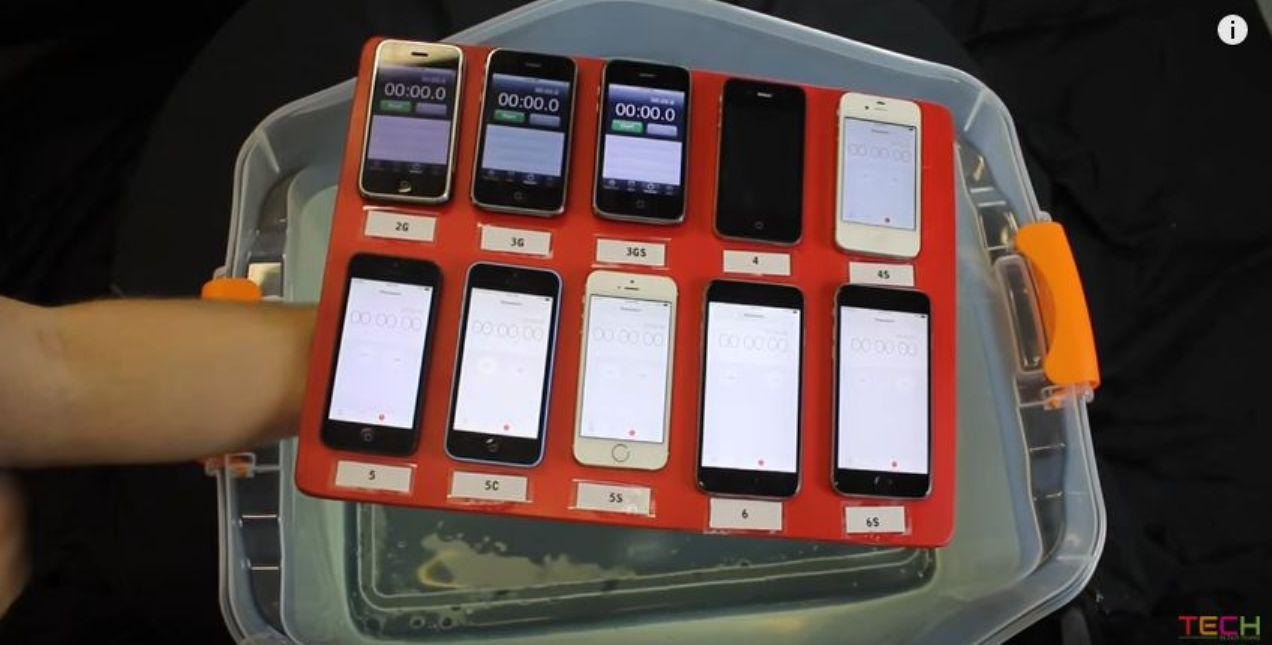 فيديو : اختبار المقامة للماء لكل هواتف الايفون iPhone