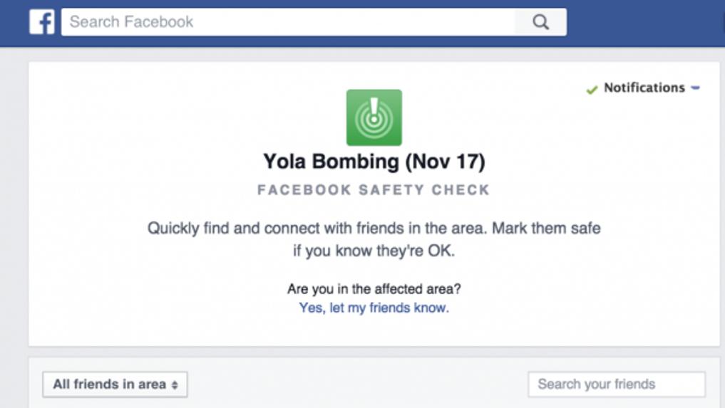 فيس بوك facebook يفعل خاصية التأكد من السلامة  في تفجير نيجيريا