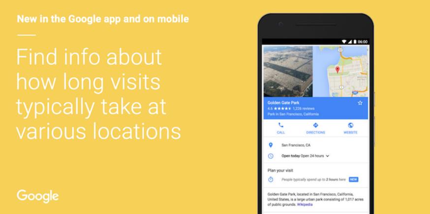 قوقل Google يخبرك بالمدة التي يمكنك قضاءها في مكان جغرفي ما